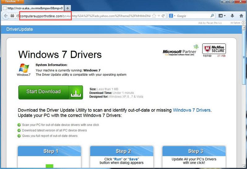 Removal of ComputerSupportHotline.com Ads