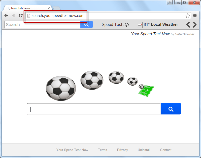 Search.yourspeedtestnow.com Search Bar Screenshot