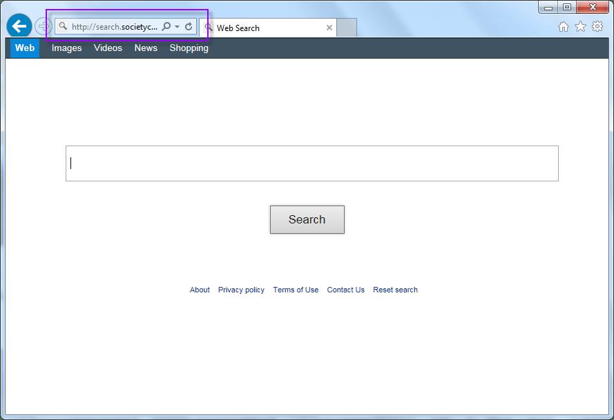 Remove Search.societycake.com Search Bar