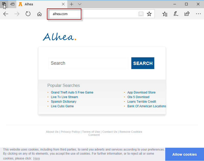 Alhea.com search bar removal