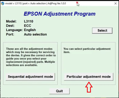 Adjustment mode