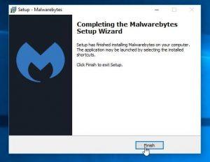 Malwarebytes Setup Wizard Complete Installation