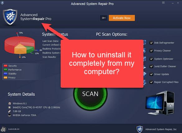 Advanced system repair pro uninstall
