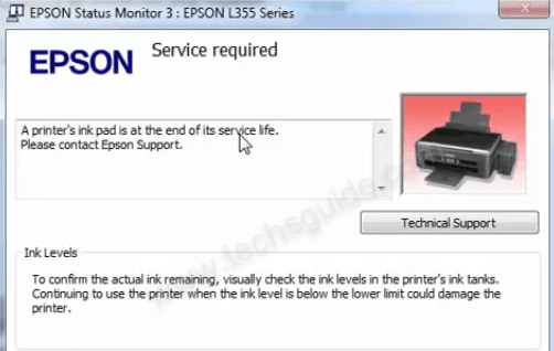 L385 ink pad error
