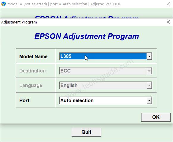 Epson L385 Resetter Tool