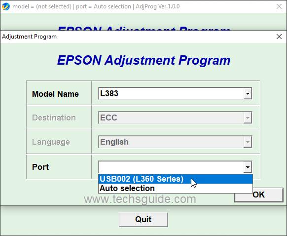 Epson L383 resetter